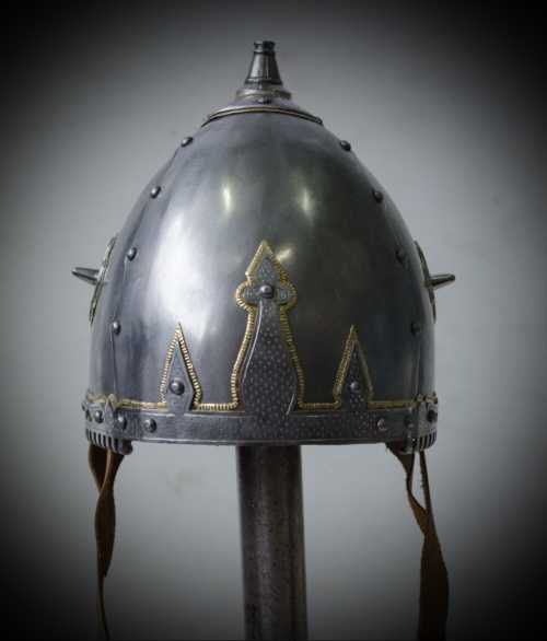 Helmet from Novgorod, Troitzki dig site (with incuse). X-XII A.D.