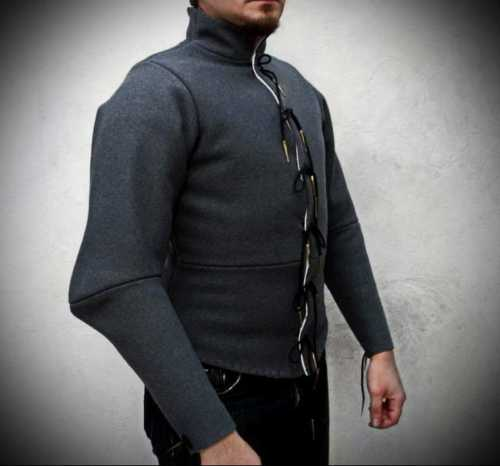 Arming doublet with padded shoulders. XIV-XV century. Hand-stitched.