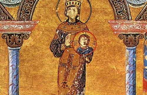 Reconstructed silk fabric from Menologion of Basil II. Byzantine.