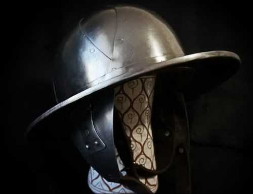 Kettle helmet from Stockholm museum with cheek plates. XIII A.D.