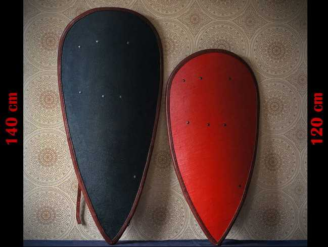New kite shields, glued of 3-4 layers of wood.